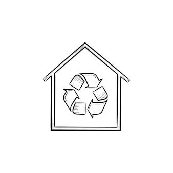 Эко дом с символом корзины рисованной наброски каракули значок. здание с рециркуляцией знак векторные иллюстрации эскиз для печати, интернета, мобильных устройств и инфографики, изолированные на белом фоне.