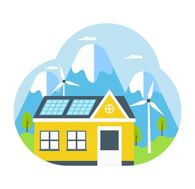 屋根のコンセプトにソーラーパネルエネルギーを備えたエコハウス