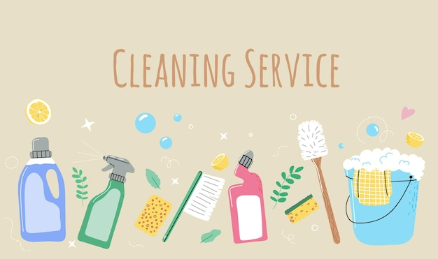 Eco household cleaning supplies detergent bottleswashing toolsspongebucketbroomspray liquid