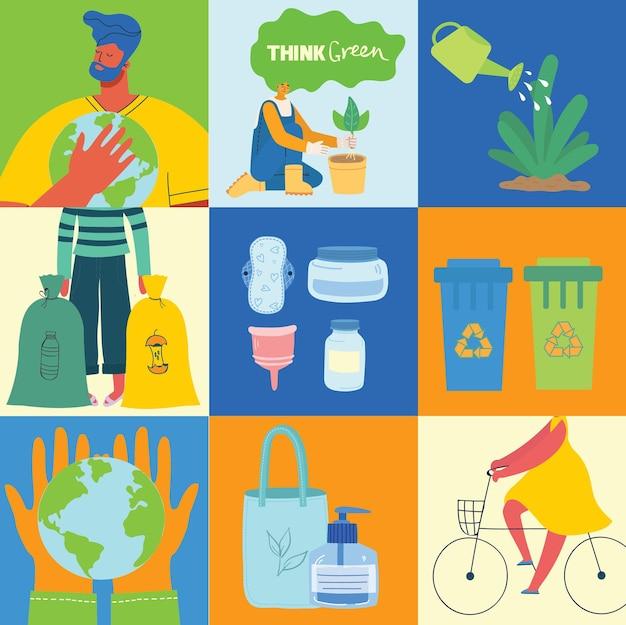 웹에 대 한 에코 그림입니다. 사람들은 쓰레기를 분류하고 에코백과 재사용 가능한 컵을 사용합니다. 친환경 캐릭터. 지구를 구하기. 벡터 템플릿, 평면 디자인, 흰색 절연입니다.