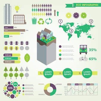 Eco infographic set with house, trees, transport icons