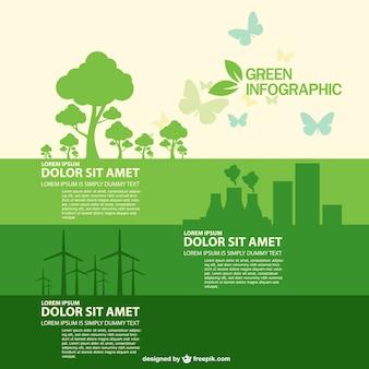 녹색 나무, 원자력 발전소 및 풍차와 에코 인포 그래픽