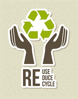 Eco label over brown background vector illustration