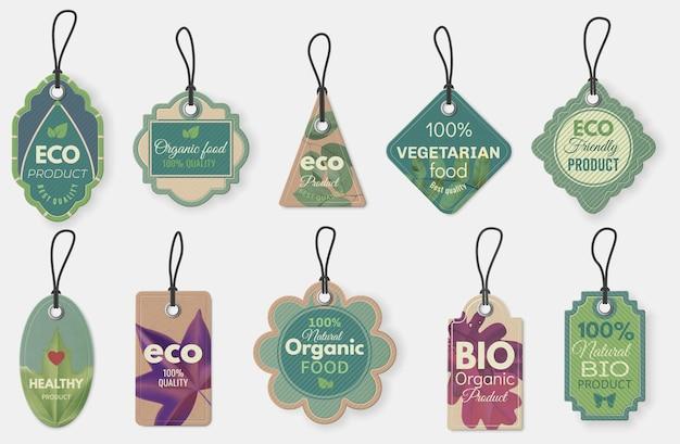 에코 라벨. 로프가 있는 천연 유기농 판지 라벨, 판촉 전단지 또는 인증서 매달려 있는 태그 템플릿 벡터 세트를 위한 빈티지 에코 태그. 일러스트 판지, 바이오 에코 유기농 태그 일러스트