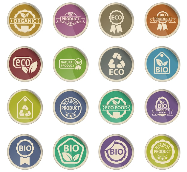 Eco label web icons in the form of round paper labels