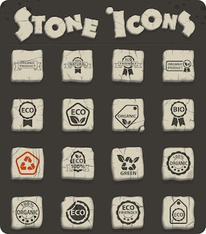 Eco label web icons on stone blocks in the stone age style for user interface design