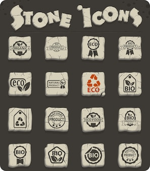 Eco label web icons for user interface design