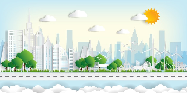 Eco landscape with buildings in paper cut