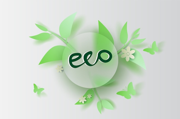 Eco leaf and flower decoration spring