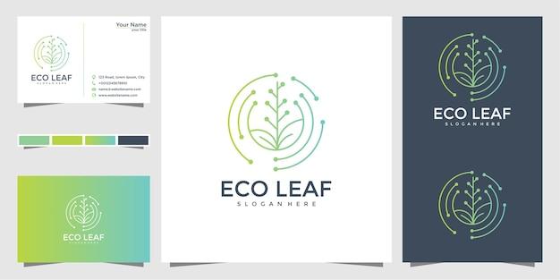 Эко лист дизайн логотипа и визитная карточка