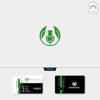 Eco leaf podcast creative logo template
