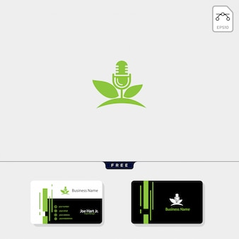 Eco leaf podcast creative logo