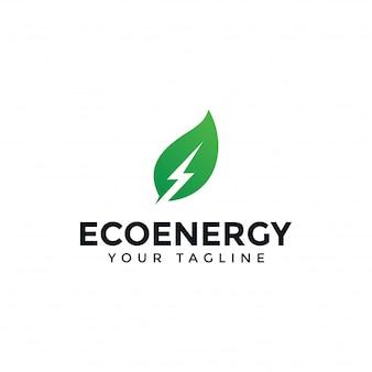 Eco leaf and power, renewable energy lightning bolt logo design template