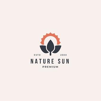 Eco leaf sun logo concept in outline