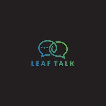 Eco leaf talk chat bubble logo icon