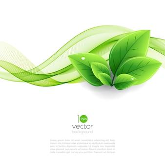 エコの葉と緑の波