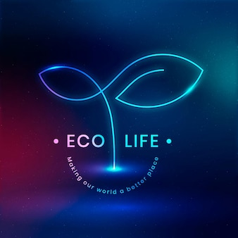 テキスト付きのエコライフ環境ロゴベクトル