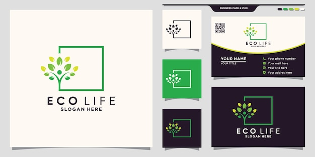 Eco life people tree logo with square line art style and business card design premium vector