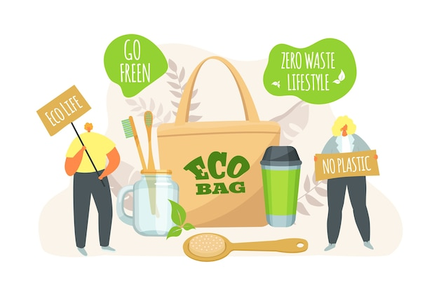 Eco life, people with ecological bag, zero waste lifestyle concept