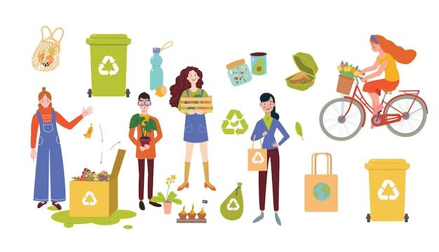 Eco lifestyle concept set, flat vector illustration.