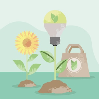 Eco light bulb and icons