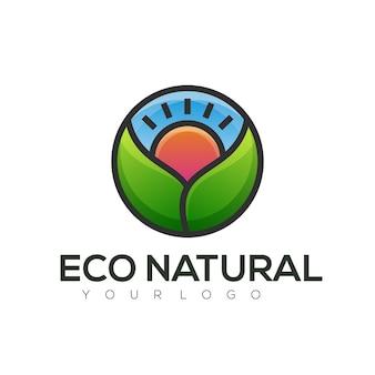 Ecoロゴのカラフルなグラデーション