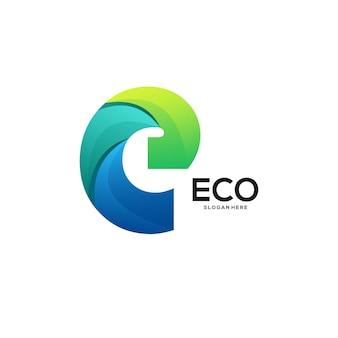 エコロゴグラデーションカラフルな抽象的なイラスト