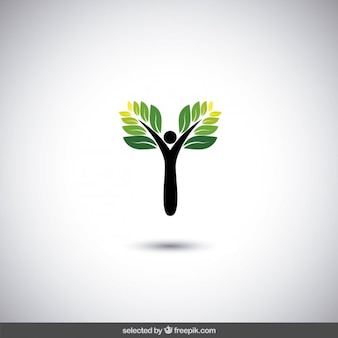 Eco logo with abstract tree