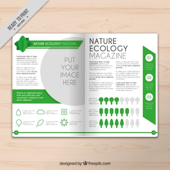 Eco magazine with chart and infographic elements