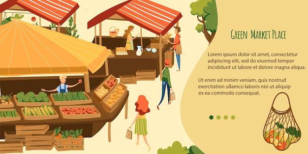 エコ市場のベクトル図です。緑の自然なエコ製品を購入する漫画フラットバイヤーキャラクター、屋台の市場で有機果物や野菜を販売する売り手
