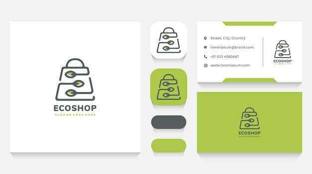 Eco and natural shop logo template and business card