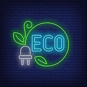 Eco neon lettering and power plug with green cord and leaves.