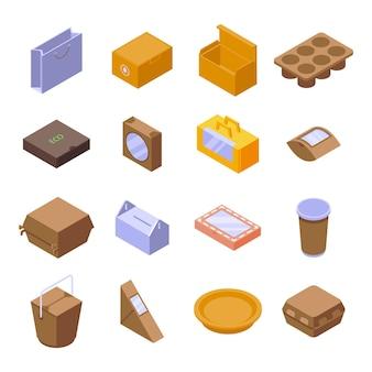 エコパッケージセット。白い背景で隔離のウェブデザインのエコパッケージの等尺性セット