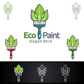 Eco painting logo with paint brush and leaf organic concept