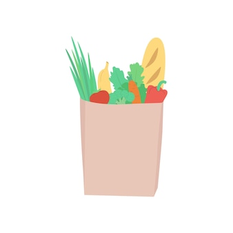 Eco paper bag with purchases in a flat style  fresh vegetables fruits salad greenery vector ill
