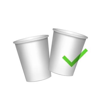 Эко бумажные стаканчики белые бумажные стаканчики изолированные