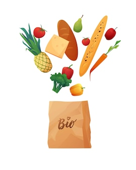 Eco paper shopping bag with food.