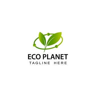 Eco planet logo template design