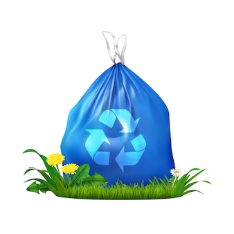 Eco plastic trash bag realistic composition with blue sack with recycling symbol on grass