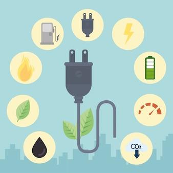 Eco plug wth icon set vector design
