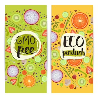 Eco products vertical flyers set