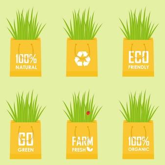 Eco recycle bag vector green set eps10