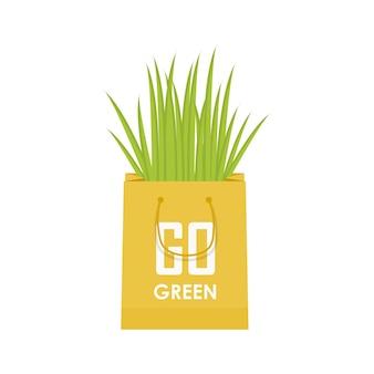 Eco recycle bag vector green set. vector illustration.