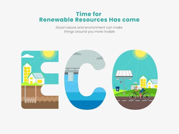 Эко возобновляемые ресурсы концептуальный дизайн плаката для осведомленности.