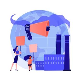 에코 가짜 추상 개념 벡터 일러스트 레이 션. 에코 불안, 인터넷 수치심, 생태 운동가, 감정 남용, 선전, 마케팅 전략, 소비주의, 녹색 운동 추상 은유.