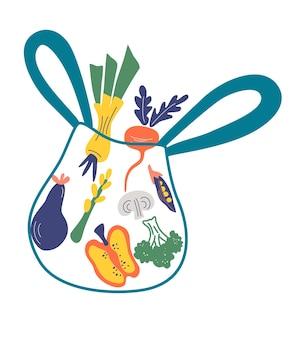 Eco shopping bag with vegetables leek pepper broccoli peas mushrooms eggplant asparagus