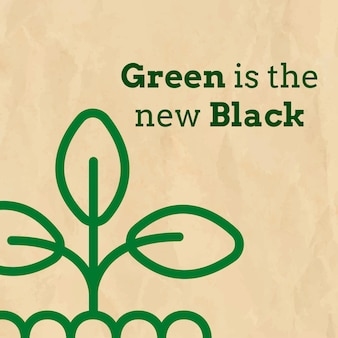 녹색이 있는 에코 소셜 미디어 템플릿 벡터는 지구 톤의 새로운 검정 텍스트입니다.