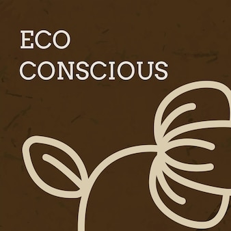 Eco social media template vector with text in earth tone