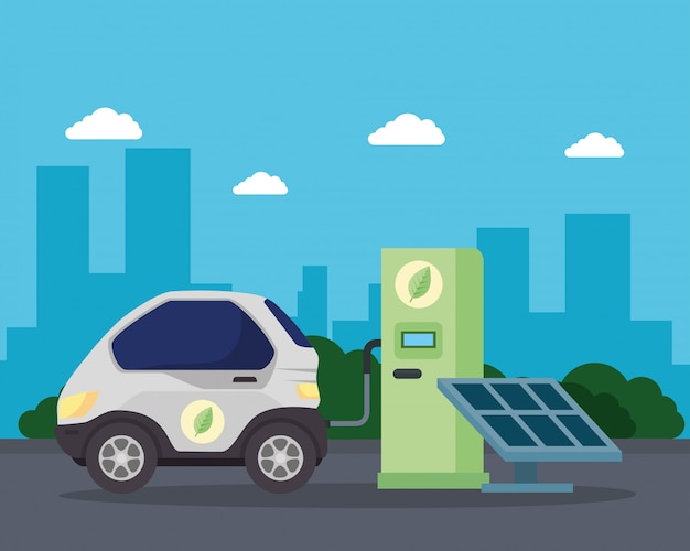 Eco station with car and solar panel vector design