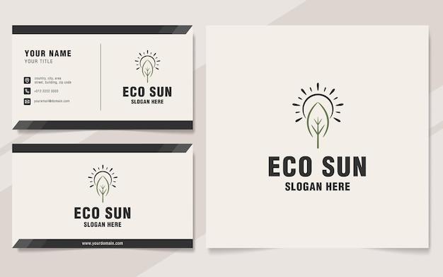 Eco sun logo template on monogram style
